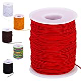 Red Elastic String for Bracelets, 100m Elastic Bracelet String for Jewelry Making, Elastic Stretchy String Cord Thread for Beads, Stretch Necklace Cord for Beading (Red, 1mm)