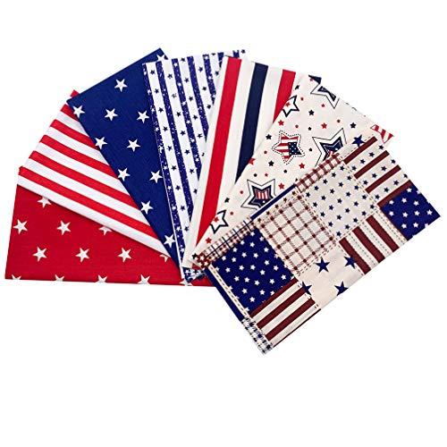 PRETYZOOM 7 Stücke Kinder Baumwolle Meterware USA Flagge Baumwollstoff Paket Stoffbündel Stoffpaket Stoffquadrate Quilten Patchwork Stoffe Paket Stoffreste zum Nähen DIY Kissen Bettzeug