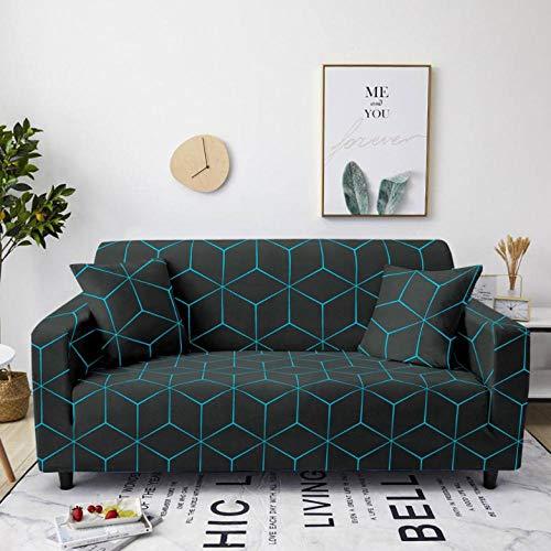 Fundas de Sofá Elastica 4 PlazasCuadros Azul Negro Funda Cubre Sofa Regalar 2 Funda de Cojines Funda para Sofá Funda de sofá de Sillón Antideslizante Protector Cubierta de Muebles