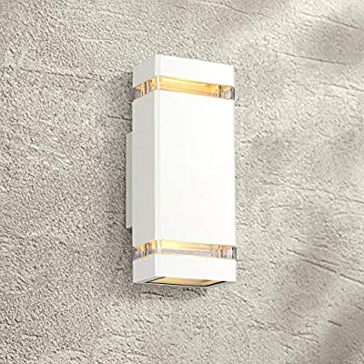 """Skyridge Modern Outdoor Wall Sconce Fixture White 10 1/2"""" Clear Glass Up Down for Exterior House Porch Patio Deck - Possini Euro Design"""