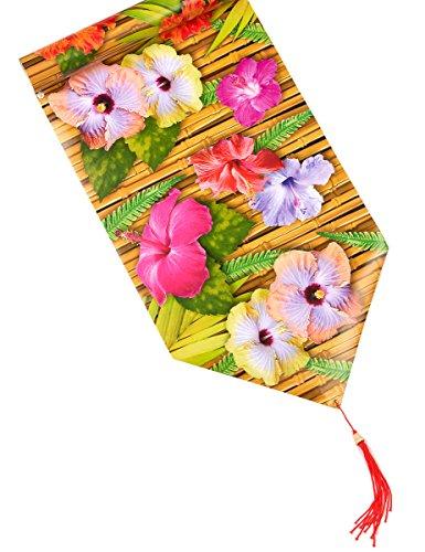 Generique - Chemin de Table Fleur dhibiscus Hawaï 28 cm x 1,8 m
