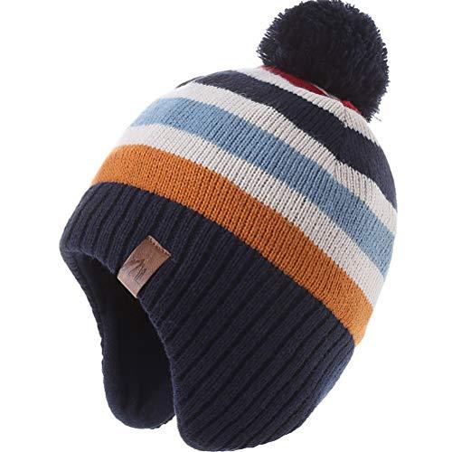 AHAHA Wintermütze Junge and Baby - Fleece-Gefüttertes Ski Beanie Kinder Strick Earflap Schal und Mütze Set,1-3 Jahre,Regenbogen Hut
