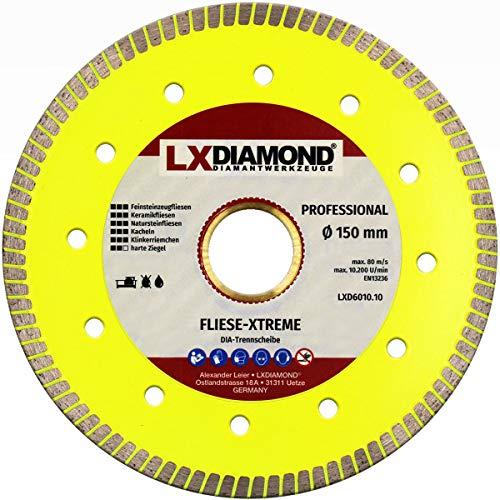 LXDIAMOND Disco de corte de diamante de 150 mm x 30 mm, para azulejos, gres porcelánico, baldosas de cerámica, piedras naturales, correa extrafina para cortes exactos de 150 mm