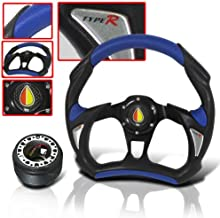 Steering Wheel Battle Style 320mm with Hub Adapter and Horn Button Blue