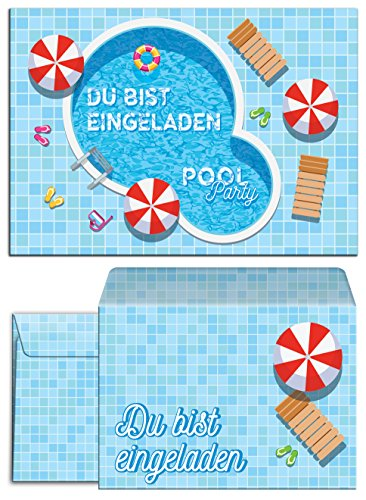 JuNa-Experten 8 Einladungskarten incl. 8 Umschläge zum Kindergeburtstag Schwimmbad Party / Pool Party / schöne und Bunte Einladungen (8 Karten + 8 Umschläge)