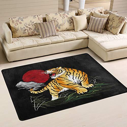 Mnsruu Tiger Sun Japanese Vintage Area Rug Rugs for Living Room Bedroom 91cm x 61cm(3 x 2 feet)