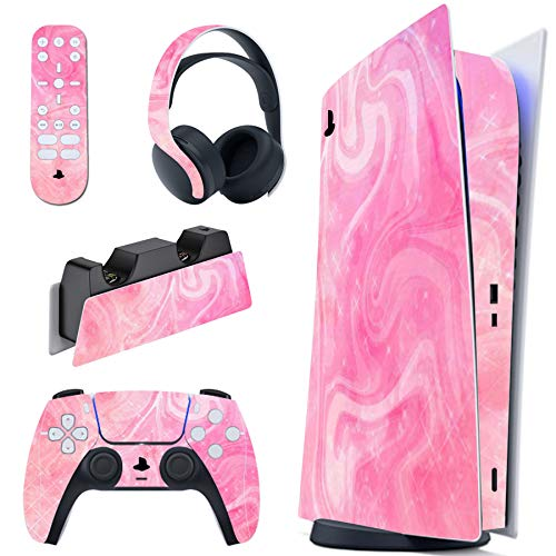 PlayVital Skin für PS5 Konsole Digital Edition, Aufkleber Vinyl-Skin Stickers Schutzfolie Folie für PS5 Playstation 5, DualSense Controller, Ladestation, Headset, Medienfernbedienung-Psychedelic Pink