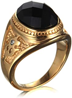 YABINI Mens and Men's Titanium Steel Retrol Black Gemstone Rings