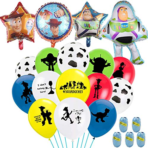Toy Inspired Story Birthday Party Balloons, Including 40Pcs Double Sided Latex Balloons 8Pcs Cow Printed Latex Balloons 4Pcs Foil Balloons And 5Pcs 11 Yards(Each One) Ribbons Ideal for Kid Birthday Pa