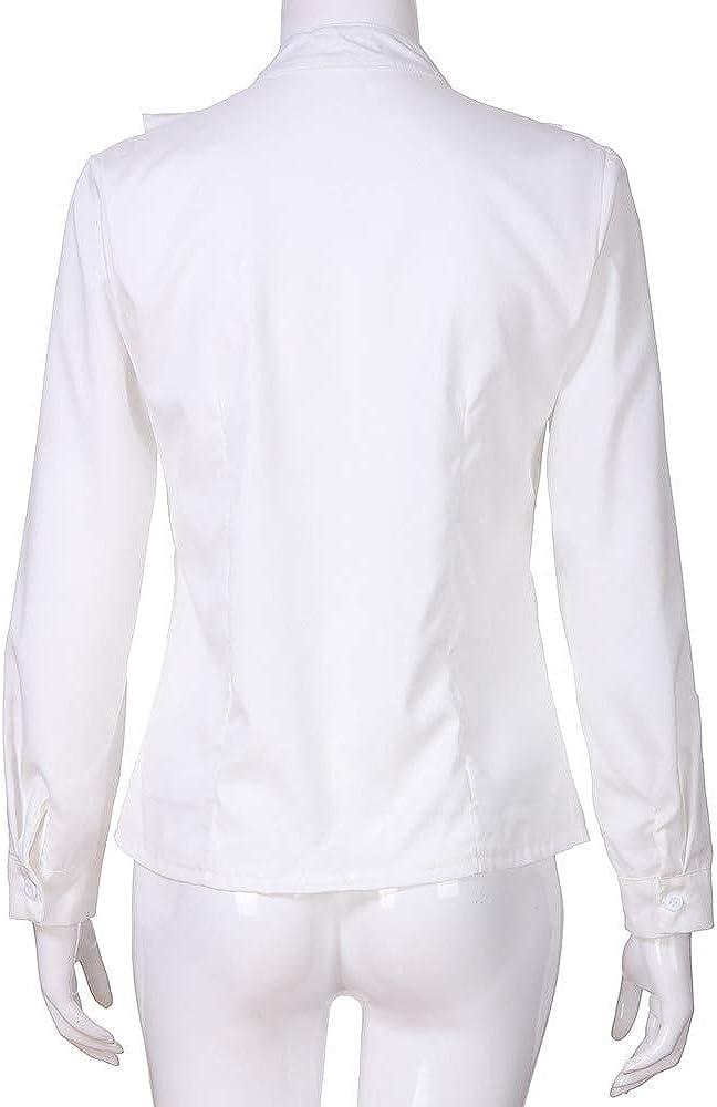TUDUZ Damen Bluse Elegant Chiffon V-Ausschnitt Langarm Oberteil mit Rüschen Vorne Tunika Hemd T-Shirt Weiß