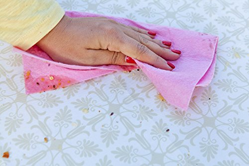 TopTableCloth Table Cover Gold Patterned Elastic Vinyl Christmas Tablecloth Rectangular for Folding Table 6 ft 30 x 72 inch Waterproof Fitted Table Cloths Rectangle for Camping Picnic Party Outdoor