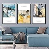 ZHQHYQHHX Cuadro moderno abstracto de porcelana de cristal de lujo tríptico mural marco negro Villa Hotel Home Sala Decoración de pared 3 piezas/set de pintura colgante (tamaño: 50 cm x 70 cm)