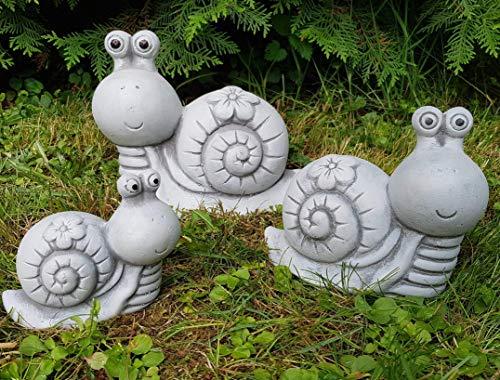 Süße Gartenfiguren für außen Schnecken-Familie 3-teilig frosfest Handmade Deko für Garten Balkon Fensterbank Steinfiguren