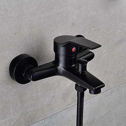 Bathtub Grifo Baño Moderno Ducha Grifo Frío y Agua Caliente Tapeo de una Sola Palanca Negra