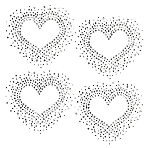 "Set of 4 Heart Love Valentine's Day Hotfix Clear Rhinestone Iron On Design Transfer Bling - Each Heart 3.5"" by 3.5"" 