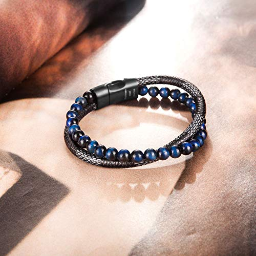 murtoo Mens Bead Leather Bracelet, Blue and Brown Bead and Leather Bracelet for Men (Blue-Black)
