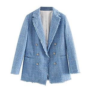 NP Blaue Twill Tweed Jacke Vintage Gitter Frauen Anzugjacken Damen Asymmetrisch Zweireihig