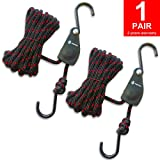 Kayak Tie Down Straps Canoe Bow and Stern Heavy Duty Cargo Ratchet Pulley Rope Hanger (Black Sleeve Elite, 12 Feet,2pack)