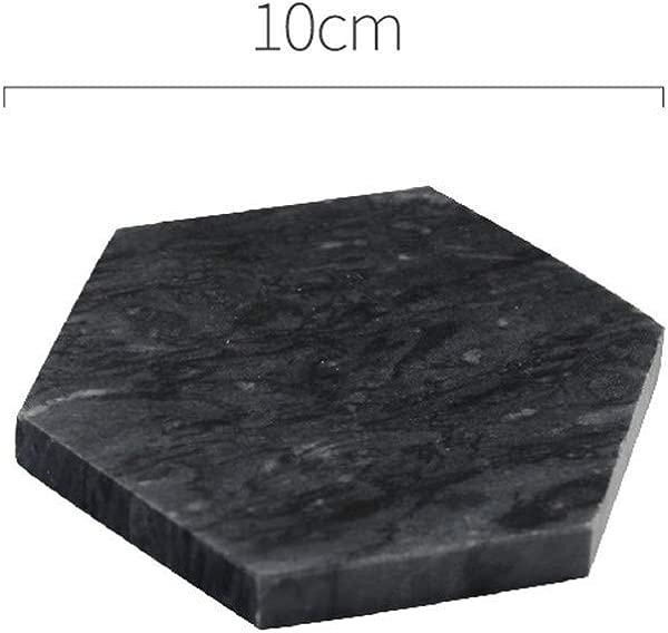 Marble Coaster Irregular Diamond Heat Insulation Non Slip Coffee Cup Mat Pure Stone Hexagon Black