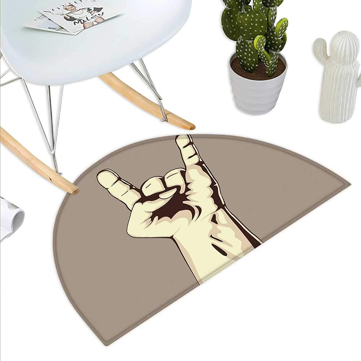 Rock Music Semicircle Doormat Devil Sign Vintage Symbol Illustration Hand Gesture Abstract Musical Elements Halfmoon doormats H 39.3  xD 59  Taupe Ivory