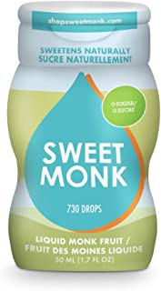 Monk Fruit Liquid Sugar Substitute. 100% Pure Monk Fruit Syrup Liquid Sweetener – 2 ounces . Monk Fruit Sweetener Made fro...