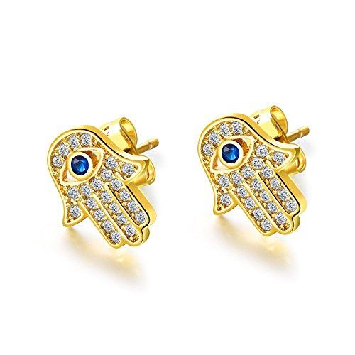 JAJAFOOK Hamsa Hand of Fatima Stud Earrings Zircon Evil Eye Post Earrings For Women Teen Girls, Silver/Gold Color