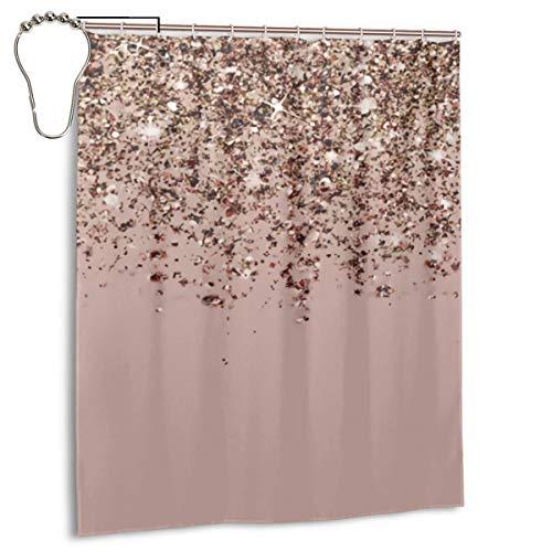 Sunlight DIY Duschvorhang, glitzernd, dekorativ, Kunstdruck, strapazierfähiges Polyester, 183 x 183 cm, Blush Pink / Rose Gold / Bronze