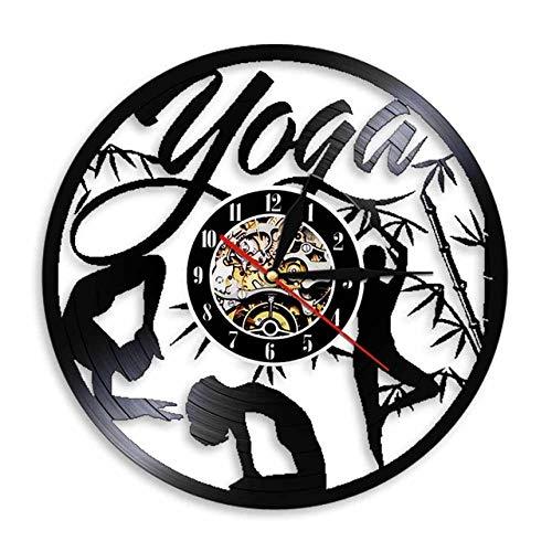 SKYTY Vinyl Music Record Wall Clock-Handmade Vintage Silhouette Yoga Vinyl Clock Interior Decor Art Clock-With Led Light