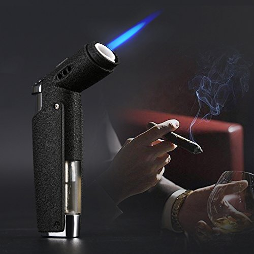 Jet Torch Cigar Lighter with Soft or Jet Flame Function and Butane Gas Visible Window, Fuel Refillable Windproof Cigarette Lighter