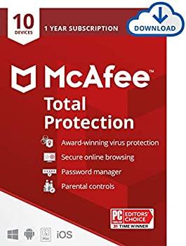 McAfee Total Protection 2021 10 Device Antivirus Internet Security Software Password Manager Parental Control Privacy 1 Year - Download Code