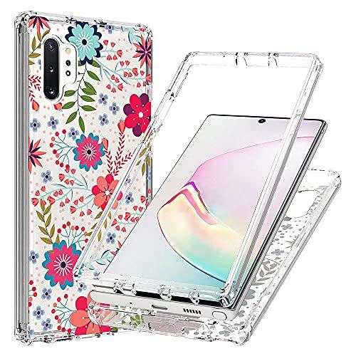 Blllue Funda para Samsung Note 10 Plus, diseño floral de flores para mujeres y niñas, transparente, ajuste delgado, 2 en 1, PC duro y marco de TPU para Galaxy Note 10 Plus, diseño floral pequeño