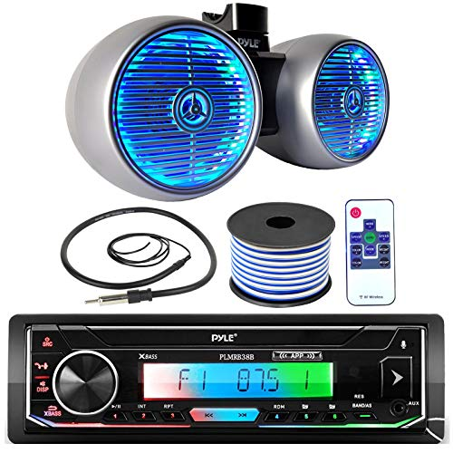 Pyle Single DIN AM FM Radio USB AUX Bluetooth Marine Stereo Black Receiver Bundle Combo with 6.5  400W Dual Wakeboard Silver Marine LED Tower Speakers, Wired Antenna, 18 Gauge Speaker Wire