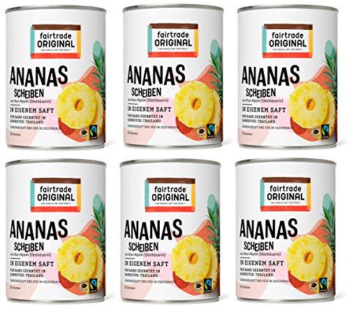 Ananas in Dosen von Fairtrade Original | 560 g Ananasscheiben in eigenem Saft | 10 Ananas Scheiben ohne Zucker | Sweet Pineapple | Dosen Ananas Fair Trade und natürlich (6 Dosen (560g))