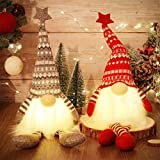Rinerly Christmas Gnome Decorations Swedish Christmas Gnome Lights Scandinavian Tomte with Legs Handmade Elf Plush Doll Holiday Home Party Decoration Gift- Pack of 2(Plaid Pattern)