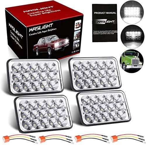 KASLIGHT 4pcs 4x6 Led Headlights w/ H4 Socket, 4651 Led Headlight Peterbilt Headlights Rectangular H4651 H4652 H4656 H4666 H6545 for Kenworth Freightinger Ford Probe Chevrolet Oldsmobile Cutlass