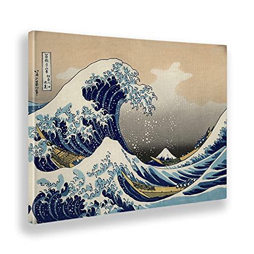 Giallobus - Cuadro - Hokusai - La Gran Ola de Kanagawa - Lienzo - 140x100 - Listo para Colgar - Cuadros Modernos para el hogar