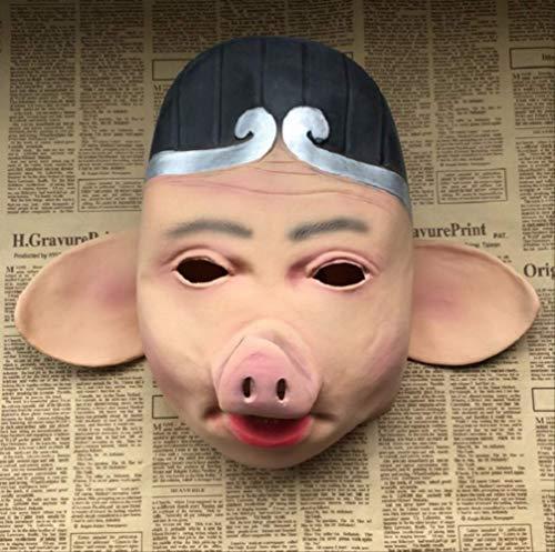 tytlmask Scary Saw Pig Latex Masker, Chinese Klassieke Varken Karakter Masker, Joke Dier Props Voor Halloween Grappige Cosplay Mascotte Decoratie