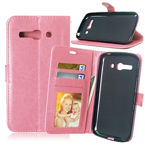 FUBAODA Funda de Piel para One Touch Pop C9, [Cable Libre] Premium en Dorado PU Cuero Funda Folio Carcasa, PU Billetera Folio Carcasa para Alcatel One Touch Pop C9 (7047 7047D) (Rosa)
