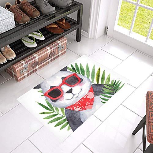 """HUJITIAN Best Door Mat Glasses Panda Cute Funny Non-Slip Indoor and Outdoor Welcome 23.6""""x 15.7"""" Door Mat Set Doormat Rug Kitcgen Floor Mat Bath Mats for Floors"""
