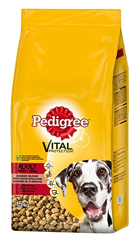Pedigree Hundefutter Trockenfutter Adult Maxi für große Hunde >25kg mit Rind und Reis, 1 Beutel (1 x 15kg)