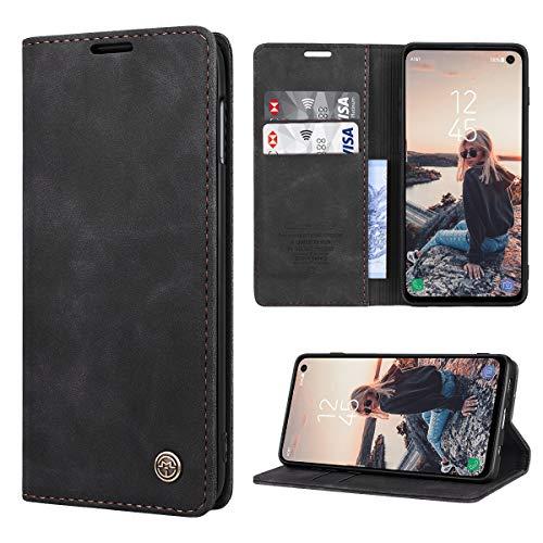 RuiPower Kompatibel für Samsung Galaxy S10e Hülle Premium Leder PU Handyhülle Flip Hülle Wallet Lederhülle Klapphülle Klappbar Silikon Bumper Schutzhülle für Samsung S10e Tasche - Schwarz