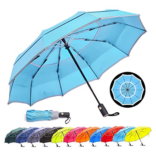 HOSA Auto Open Close Compact Portable Lightweight Travel | Night Safety Reflective Strip | Windproof Waterproof UV Protection Umbrella | for Raining Sunny Days Night Time Use (Water Blue 42-inch)