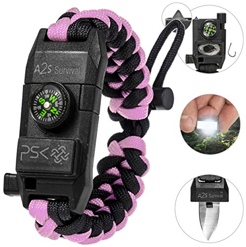 PSK Paracord Bracelet 8-in-1 Personal Survival Kit Urban & Outdoors Survival Knife, Fire Starter, Glass Breaker, Survival Whistle, Signal Mirror, Fishing Hook & String, Compass (Pink)