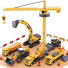 52 Piece Engineering Construction Vehicle Set with Crane, Cement Truck, Digger / Excavator, Steamroller, Dump Truck, Fuel Truck and Tractor. Complete set comes with tools, safety barriers, safety cones and safety signs. Interchangeable parts for the ...
