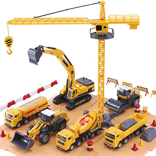 iPlay, iLearn Construction Site Vehicles Toy Set, Kids Engineering Playset, Tractor, Digger, Crane, Dump Trucks, Excavator, Cement, Steamroller, Birthday Gift for 3 4 5 Year Old Toddlers Boys Children