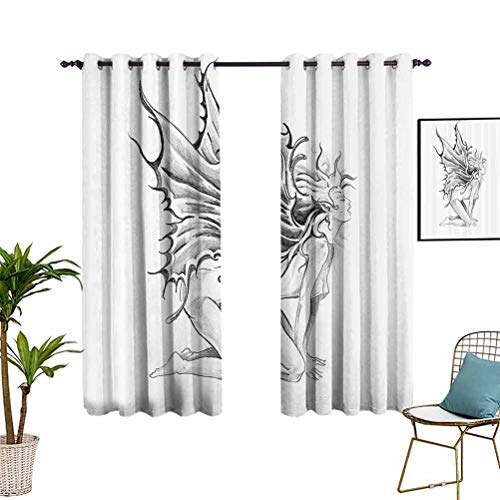 Tattoo Decor Wide Blackout Curtains Artistic Pencil Drawing Art Print Nude Fairy Opening its Angel Wings Grommet Top Window Treatment Drapes for Kid's Bedroom 55'x72' Black and White