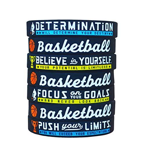 """Nircsom (12 unidades) pulseras de baloncesto con citas motivacionales deportivas – Paquete al por mayor de 12 pulseras de goma de silicona para regalos de equipo de baloncesto a granel y regalos de fiesta, color negro, tamaño 8"""" circumference"""