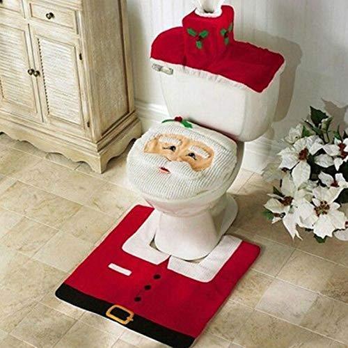 Uten El Juego de Decoraciones navideñas para baño de 3 Piezas, Cuarto de baño, Inodoro, decoración navideña