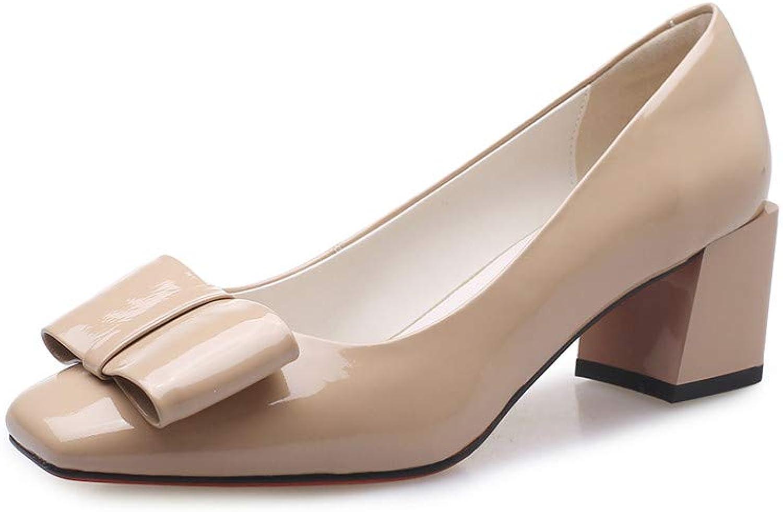 Nine Seven Patent läder läder läder Woherrar Square Toe Conce Mid Chunky Heel Sött handgjort Slip On kvinnor Pump with Bow  upp till 70%