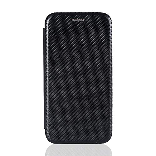 VGANA Brieftasche Hülle für Ulefone Note 11P, Hochwertige wasserdichte Flipbook Handyhülle aus Kohlefaser. Schwarz
